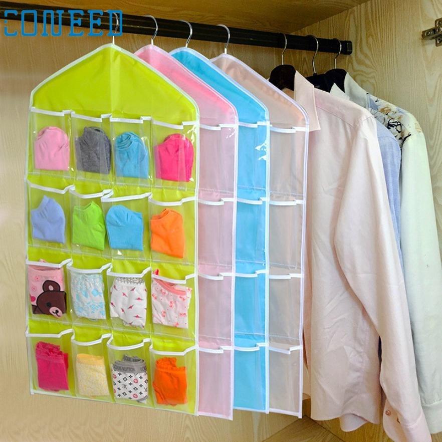 2017 hot sale Multifunction Clear 16 Pockets Socks Shoe Toy Underwear Sorting Storage Bag Door Wall Hanging Closet Organizer B