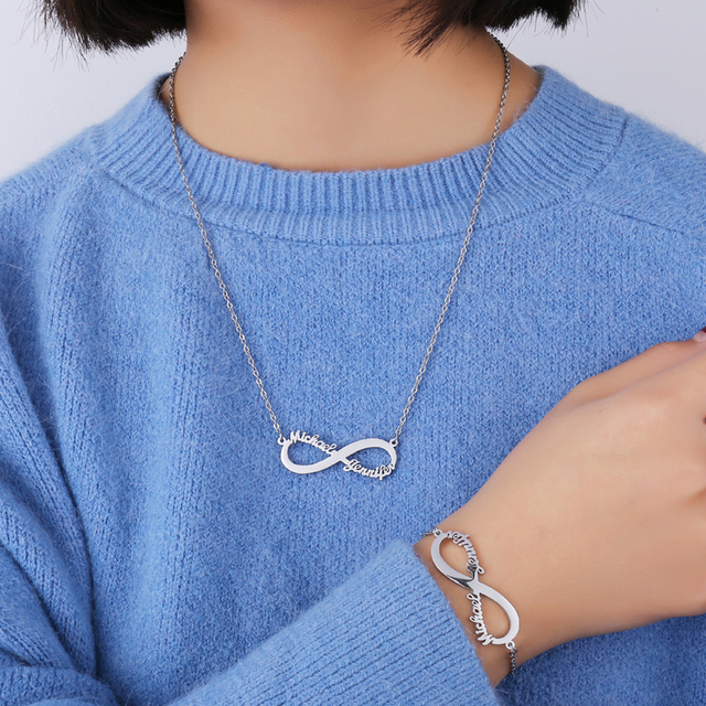 Stainless Steel Custom Name Necklace Personalized Rose Gold Heart Infinity Pendant Friendship Necklace Jewelry Best Friend