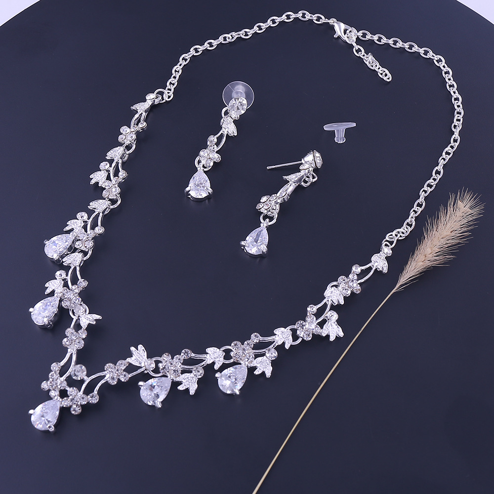 Sliver Plated Rhinestone Crystal Faux Pearl Necklace+Earring Jewelry Set For Bride Bridal Wedding (2)