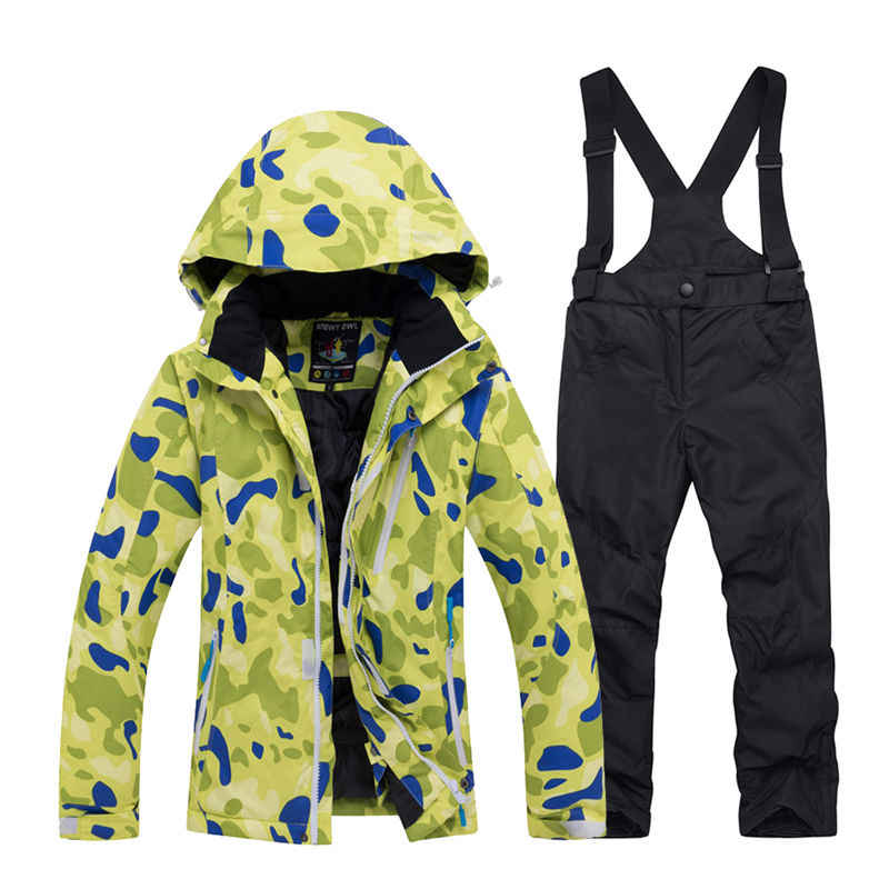 d98b94a03 Cheap Boy and Girl Snow Suit Snowboarding Sets windproof Wear Winter Clothing  Kids Ski Jacket +