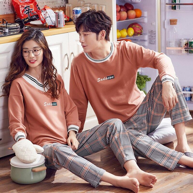 Lovers   Pajamas   Cotton Long Sleeves Autumn Women Plus Size   Pajama     Set   Cotton Home Wear Casual Pyjamas For Lovers Couple   pajamas