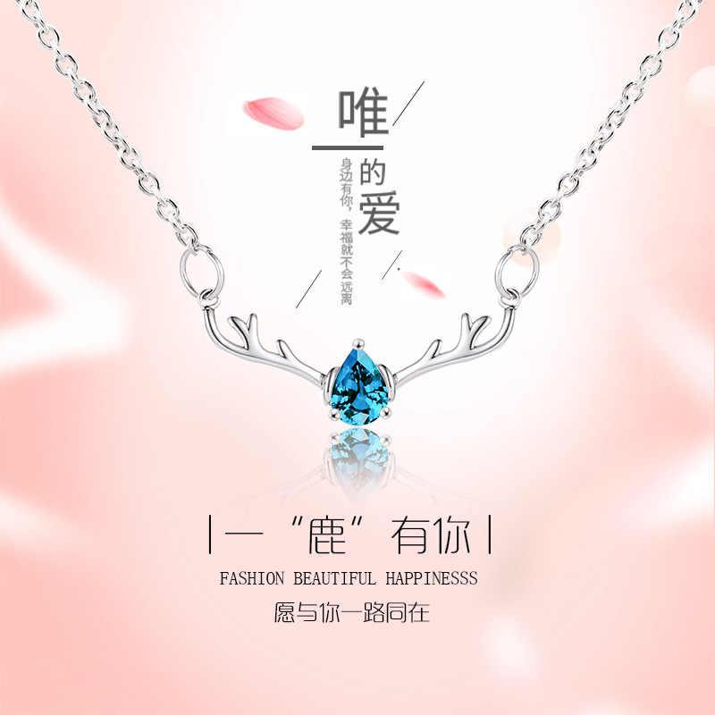 Joyería de moda cornamenta de ciervo de alce colgante con abalorio de cristal azul collar de Gargantilla mujer chica regalo de fiesta de boda QW17