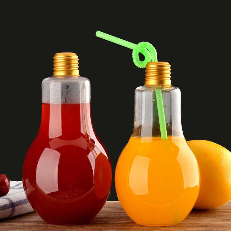 10 Pcs Bulb Water Bottle Fashion Cute Milk Juice Light Bulbs Leak-proof light lamp Creative Juice Tea Drink Holder Container
