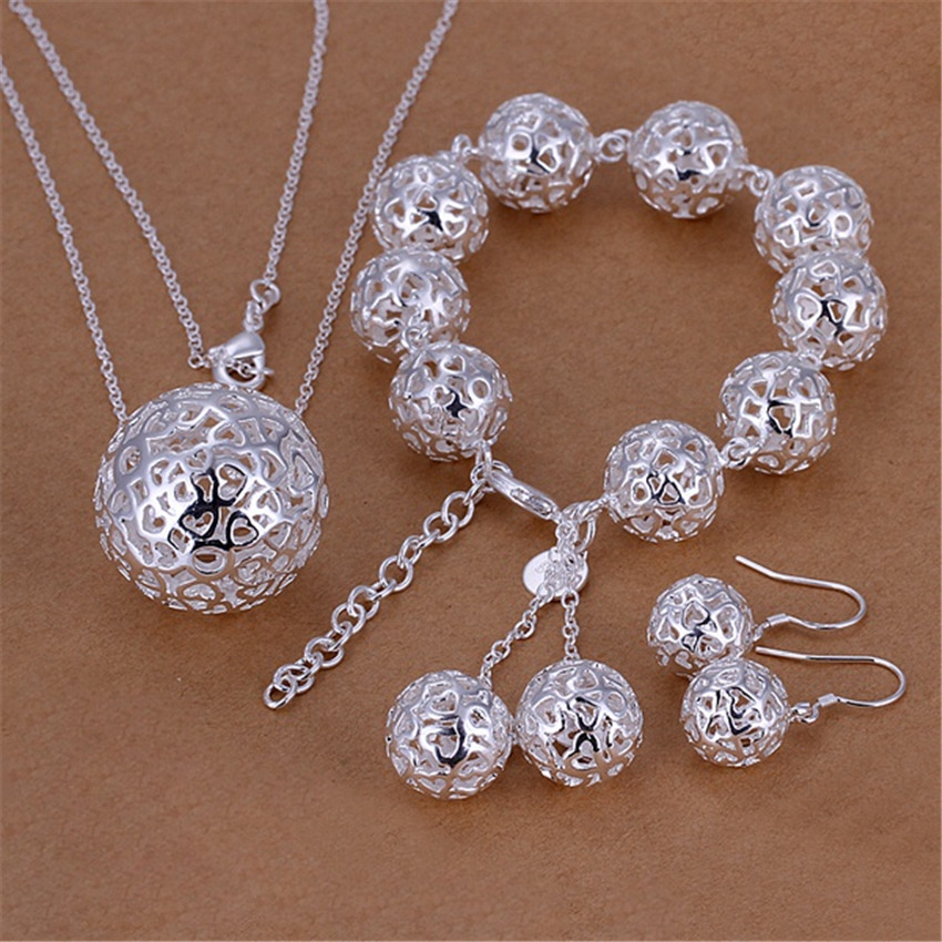 silver color jewelry <font><b>set</b></font> fashion female charm exquisite hollow loving ball pendant necklace <font><b>bracelets</b></font> Drop Earrings S110 image