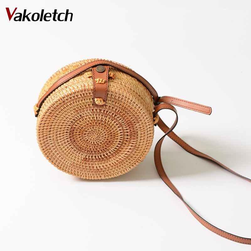 d0654adb5d58 Summer Vintage Straw Bag Handmade Crossbody Bag 2019 Bohemian Bali Rattan  Bags for Women Small Circle Beach Handbags KL428