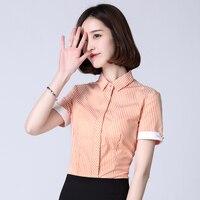 Women Blouses 2018 New Summer OL Short Sleeve Cotton Blouse Shirt Stripe Women Formal Tops 5XL