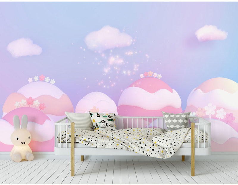 Cute Pink Small Forest Cloud 3d Cartoon Wallpaper Murals for Kids Baby Child Room Sofa Background 3d Wall Mural Wall paper custom 3d photo wallpaper mural nordic cartoon animals forests 3d background murals wall paper for chirdlen s room wall paper