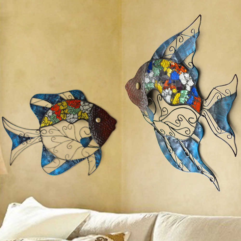 Snnei indoor wrought iron fish mural wall hangings Mediterranean ...