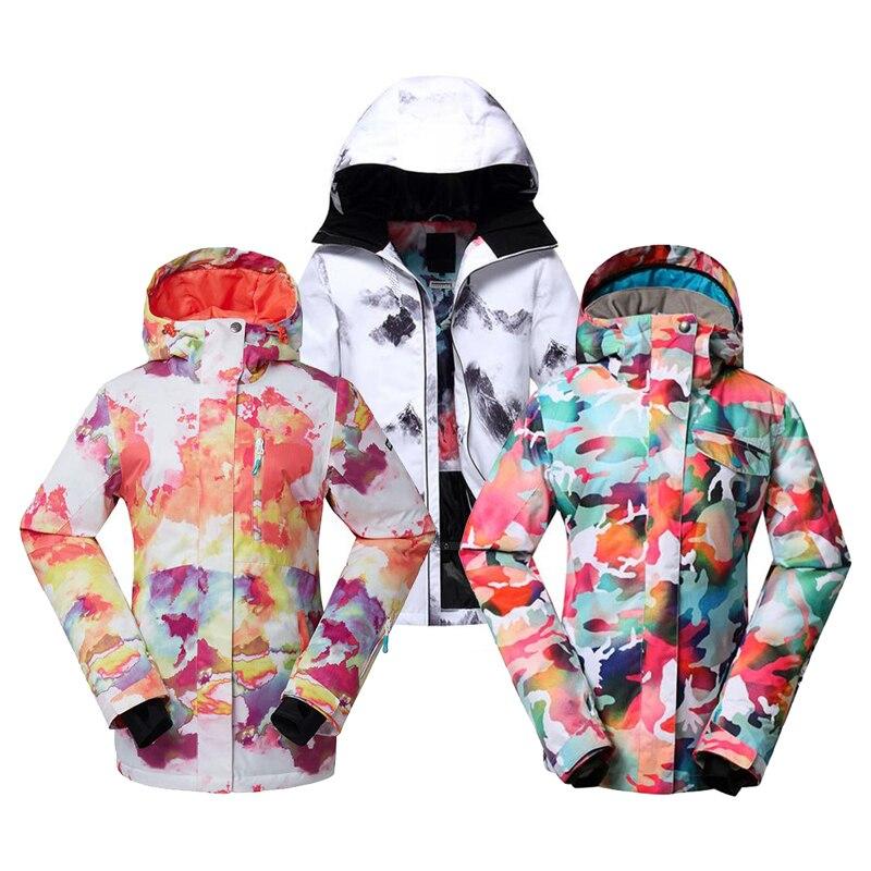 GS femmes combinaison de neige 10K imperméable coupe-vent tenue de sport veste de ski dame snowboard vêtements brillant Camouflage manteaux d'hiver