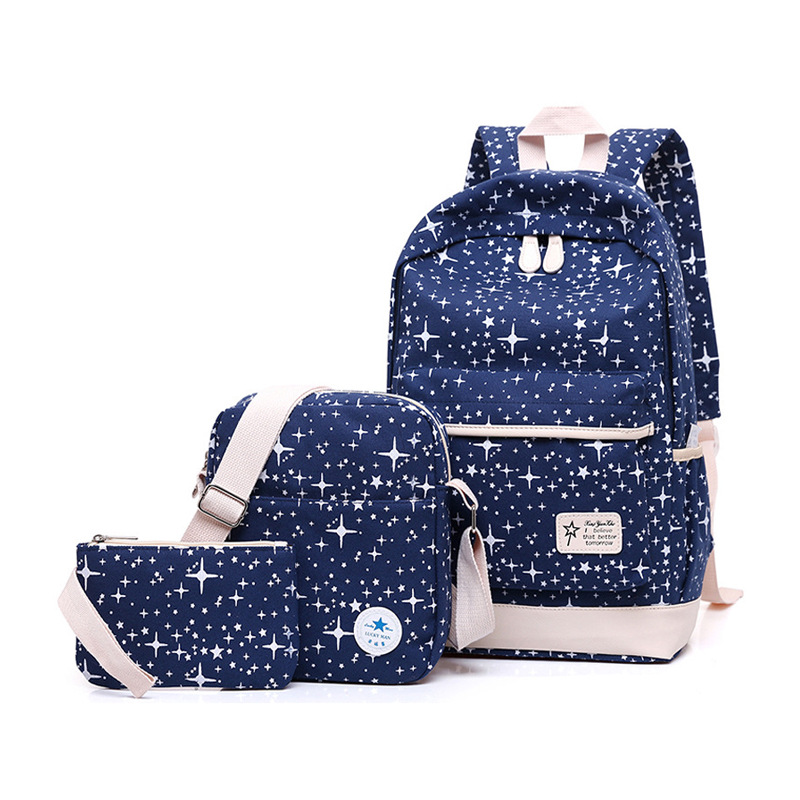 Fashion Women Canvas Space Backpack Schoolbags School For Girl Teenagers Casual Travel Bags Rucksack Cute Printing Children цены онлайн
