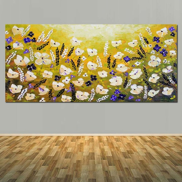 Hand Painted Canvas Abstract California Yellow Poppies Oil Painting