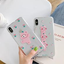 INS Korea cute cartoon funny pink bear mobile phone case for iphone Xs MAX XR X 6 6s 7 8 plus couple soft TPU back cover