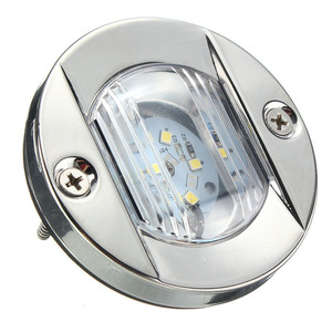 Image 4 - Barco marino de 12V luz LED de popa travesaño Acero inoxidable blanco luz trasera redonda impermeable