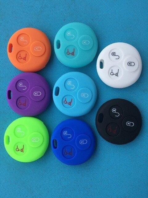 Pusakieyy 1 piezas de nueva funda de silicona para llave de coche para Benz Smart City para dos Roadster control remoto de 3 botones cáscara de la llave