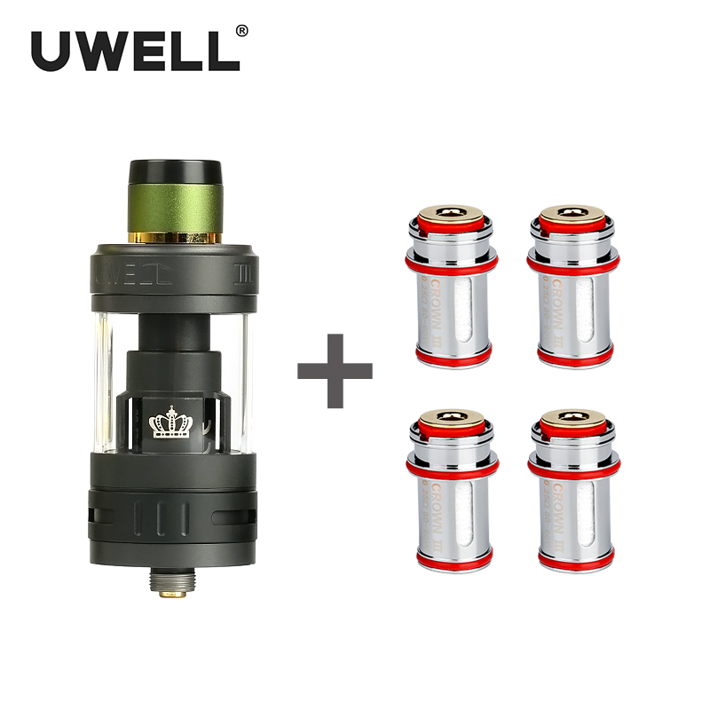 UWELL CROWN 3 Tank 5ml CROWN 3 Coil 0.25/0.4/0.5 ohm Leak Proof Design Atomizer 510 Sub Ohm Adjustable Airflow Plug-pull Coil