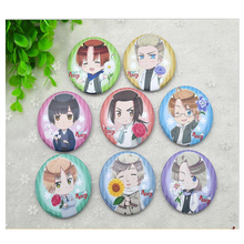 8pcs/Set 58MM Anime Axis Powers Hetalia National Flower Russia,Italy,US.United Kingdom Badge Brooch Anime Very cute Badge