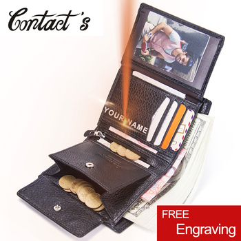 Contact's Fashion Short Wallets Genuine Leather Men Wallet Brand Design Purse With Coin Pocket Photo Holder Purses For Male