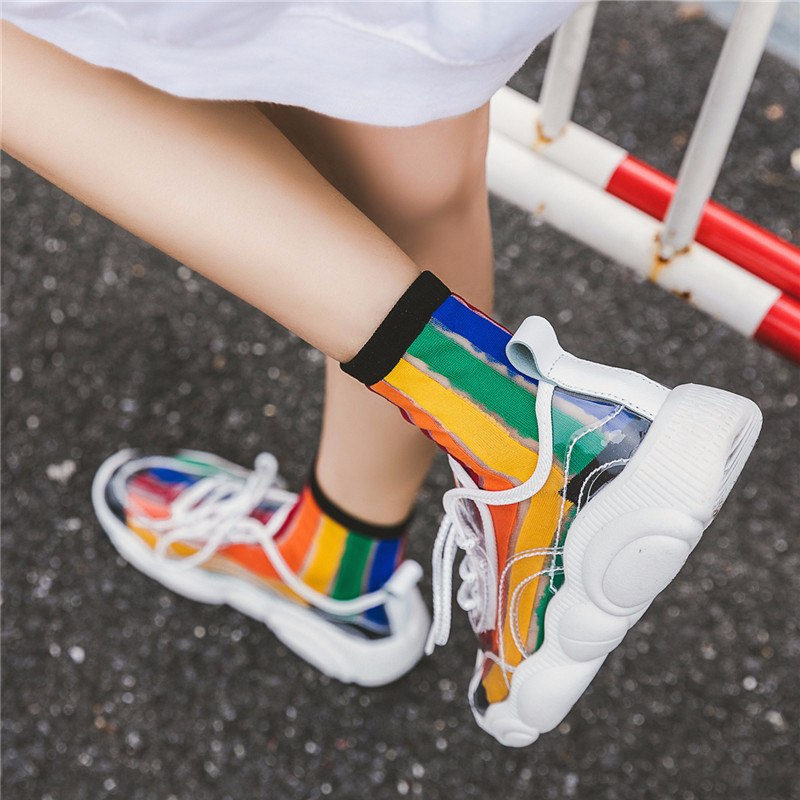 SP&CITY Women Rainbow Striped Patterned Short   Socks   Street Style Hip Pop Hipster Ankle Casual Breathable Cool Female   Socks