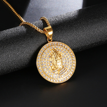 316L Stainless Steel HIP Hop Full Rhinestone Bling Iced Out Praying Hands Men Necklaces Big Round Pendants Jewelry