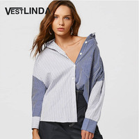 VESTLINDA Style Blouses 2017 Autumn Color Block Stripper Shirt Blouse Women Turn Down Collar Long Sleeve