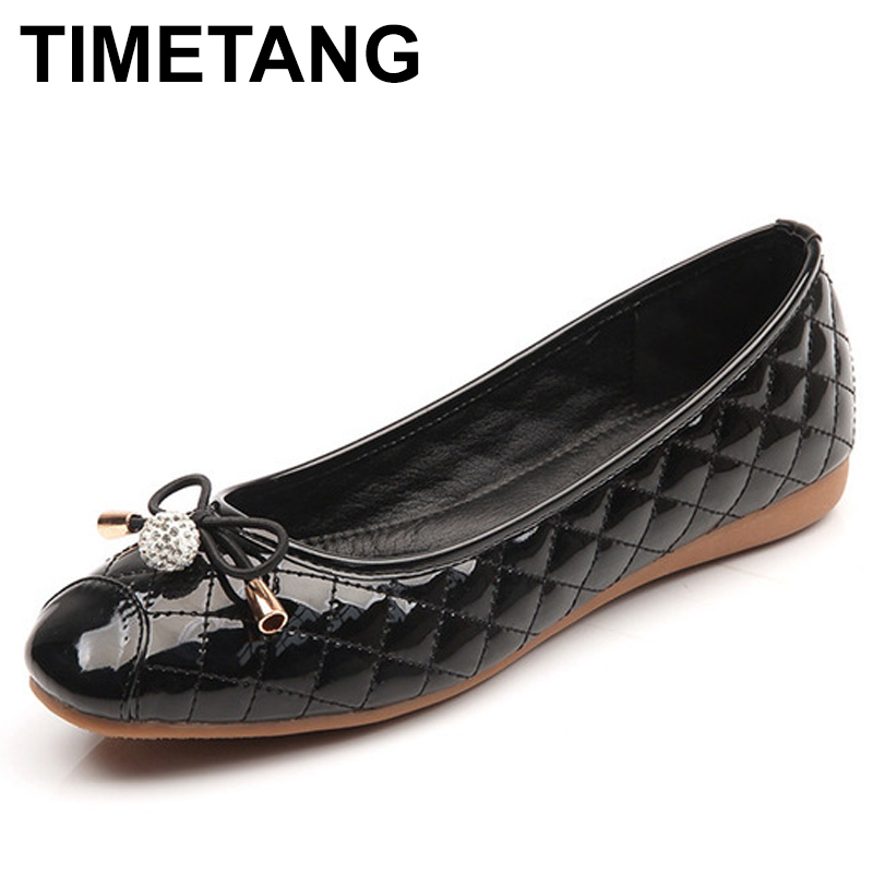 TIMETANG Vintage Weave PU Women Ballet Flats Spring Autumn Round Toe Bowtie Slip On Females Flats  Ladies Casual Loafers C138 women ladies flats vintage pu leather loafers pointed toe silver metal design