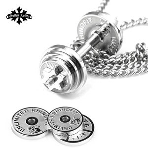 Image 2 - Dumbbell Splicing pendant necklaces Mens stainless steel fitness barbell Removal jewelry   mygrillz