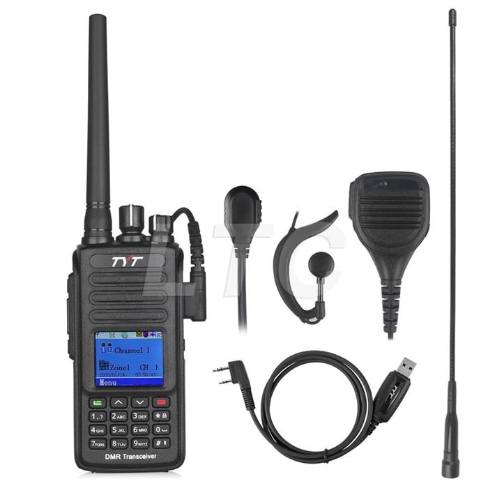 TYT MD-390 UHF 400-480mhz DMR Digital To-vejs Radio Walkie Talkie IP67 Vandtæt MD390 + Programmeringskabel + Fjernbetjening Højttaler