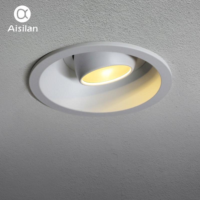 Aisilan Encastré led Downlight Angle Réglable Intégré led Spot Encastrable AC90-260V Blanc 7 W pour éclairage d'intérieur