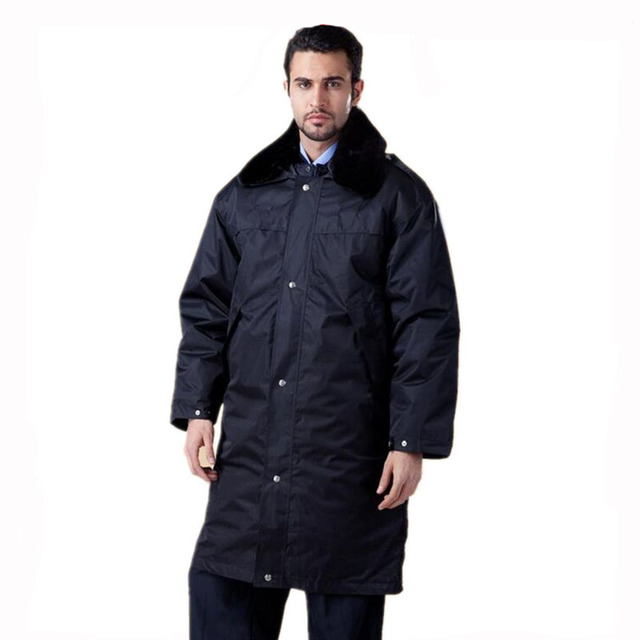 Mens working clothing safety clothing Security multifunction coat thick padded winter clothes long style overcoat overalls