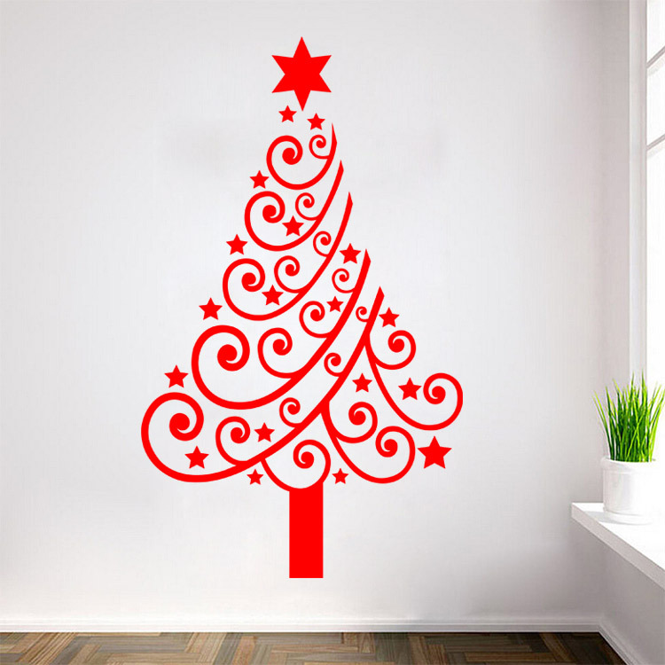 Hot design stars roll christmas tree wall sticker new year vinyl hot design stars roll christmas tree wall sticker new year vinyl wall decal for living room home decor bedroom wall art m21 in wall stickers from home solutioingenieria Images