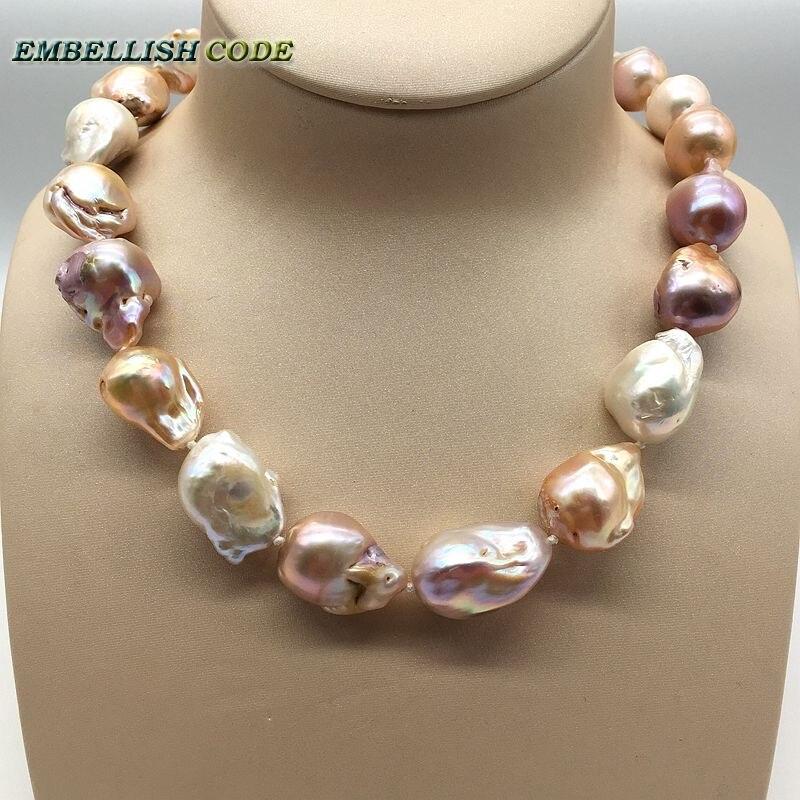 Incroyable vente couleur mélangée grande taille tissu nucléé flamme boule forme baroque perle déclaration collier 100% perles naturelles