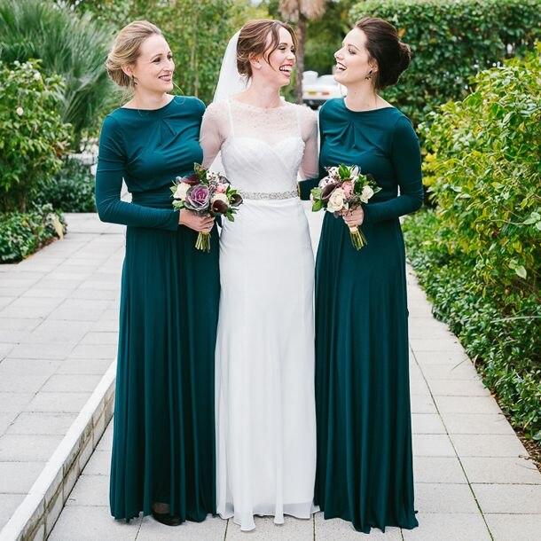 Popular Elegant Long Bridesmaid Dress Long Sleeve-Buy Cheap ...