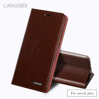 LANGSIDI Flip three card oil wax skin flip phone holster For Huawei nova2 plus phone case all handmade custom