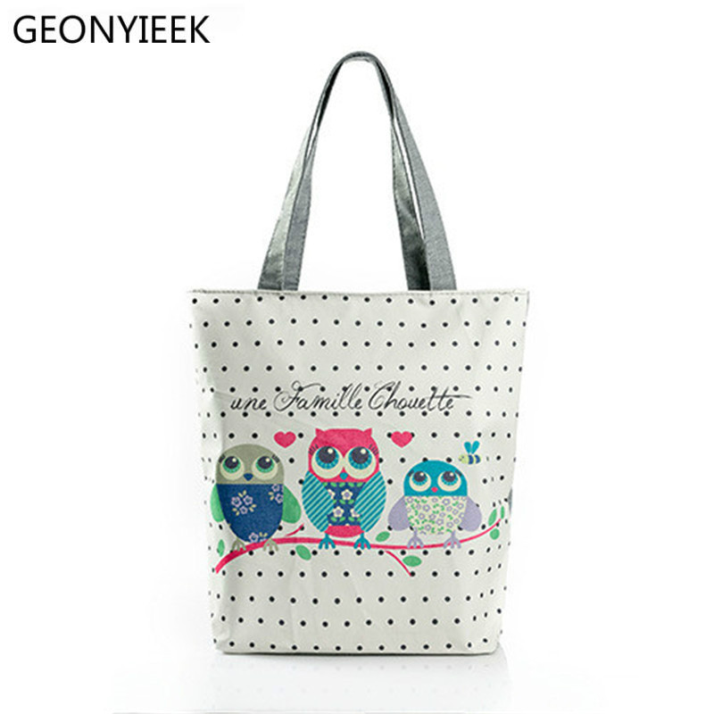 Cartoon Owl Print Casual Tote Lady Canvas Beach Bag Female Handbag Large Capacity Daily Use Women Single Shoulder Shopping Bags rope canvas print beach bag