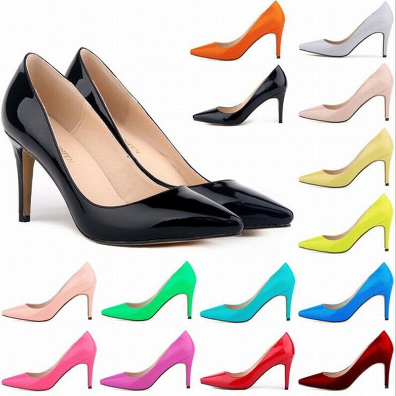 2017 Hot sales Women Pumps Classic Fashion Pointed Toe High Heels Sexy Patent Leather Women Shoes Pumps Heel height 9 cm цена