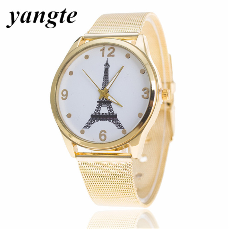 YANGTE Mesh Band Gonlden Tower Watch Steel Slim Simple Style Ultra Thin Watch wholesale Causal Women Kol Saat Student gift O49