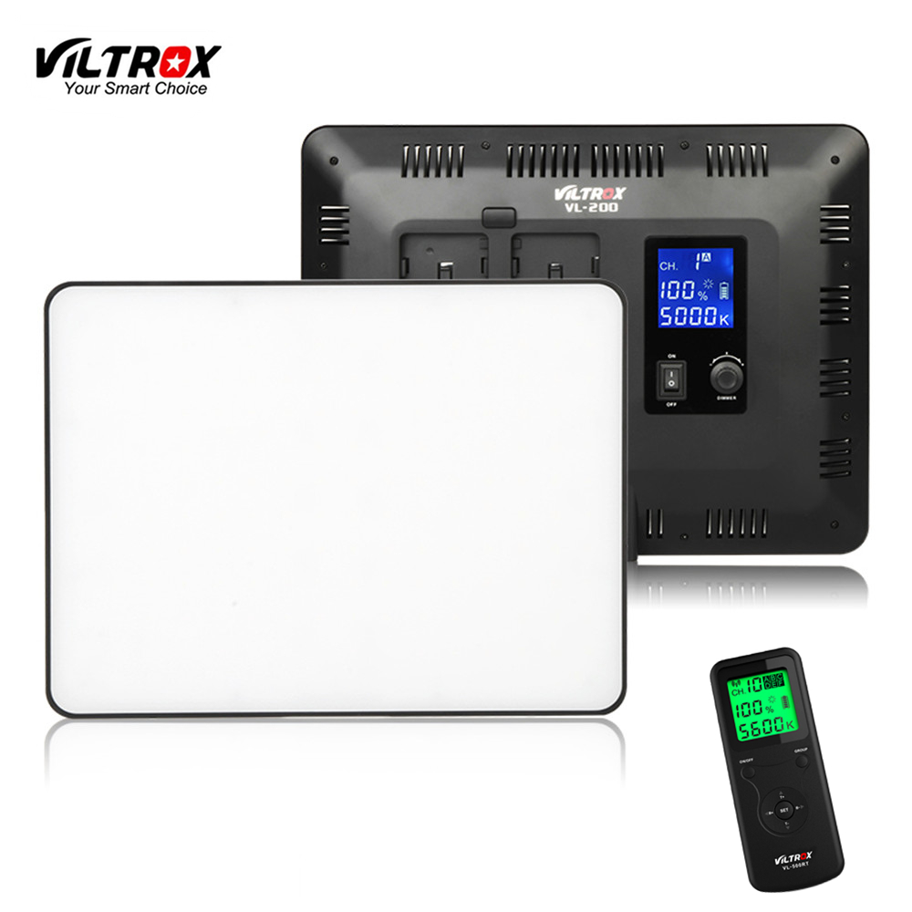 Viltrox VL-200 Pro Wireless Remote LED Video Studio Light Lamp Slim Bi-Color Dimmable + AC Power Adapter for Camcorder Camera