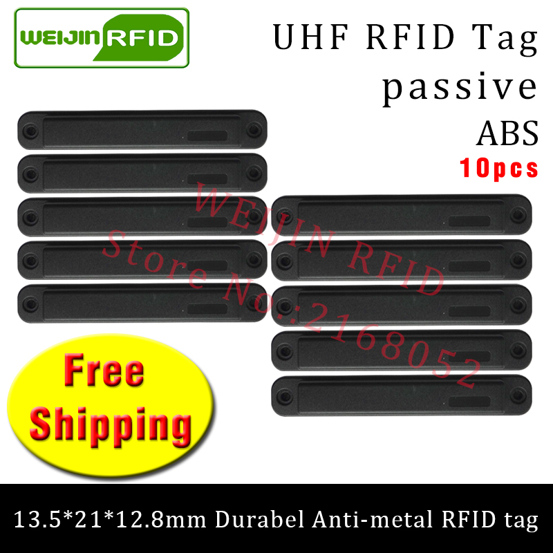 UHF RFID anti metal tag 915m 868mhz 13.5*21*12.8mm 10pcs free shipping durable ABS small handcart smart card passive RFID tags uhf rfid anti metal tag 915mhz 868mhz higgs3 epcc1g2 6c 13 5 21 12 8mm durable abs stocking shelves smart card passive rfid tags