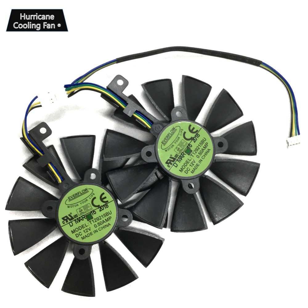 2Pcs/Lot T129215BU T129215SU VGA GPU Cooler GTX 1070 GTX 1060 Graphics Card Fan for ASUS Dual GTX1060 GTX1070 Video card cooling-in Fans & Cooling from Computer & Office
