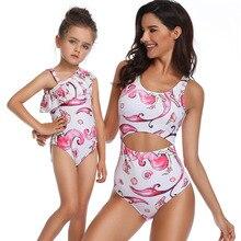 2019 Family Matching Outfits Swimwear Mother Daughter Cartoon Pattern one-Piece Swimsuit Bikini Bathing Suit Brachwear