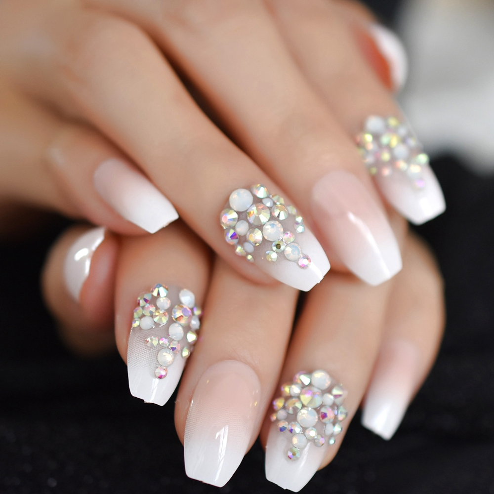 US $1.1 9% OFF|3D Bling Glitter Pink Nude French Ballerina Coffin False Fake Nails Gradeint Natrual Press on Daily Office Finger Wear UV Nails in
