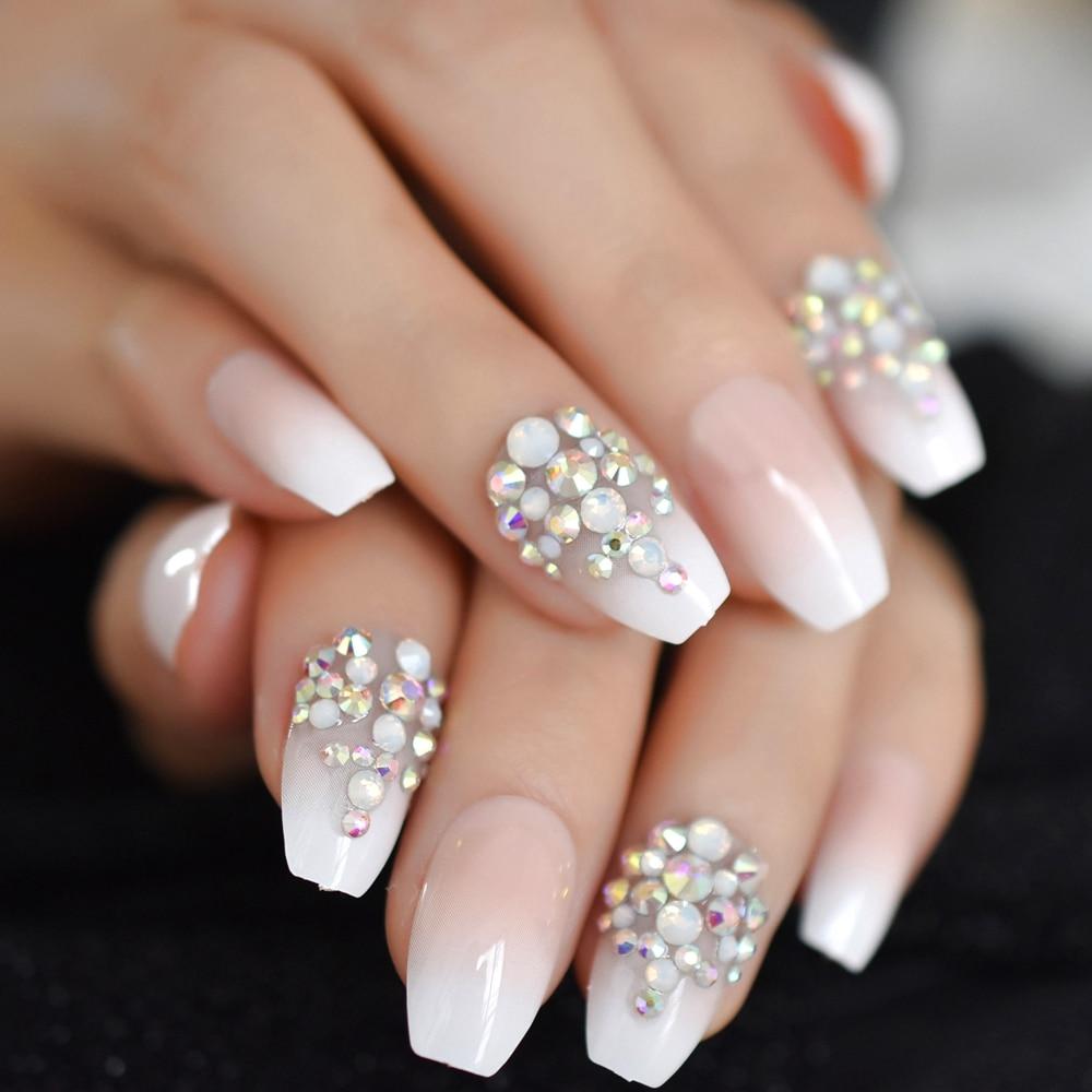 3D Bling Glitter Pink Nude French Ballerina Coffin False Fake Nails Gradeint Natrual Press On Daily Office Finger Wear UV Nails (Mega Sale Black