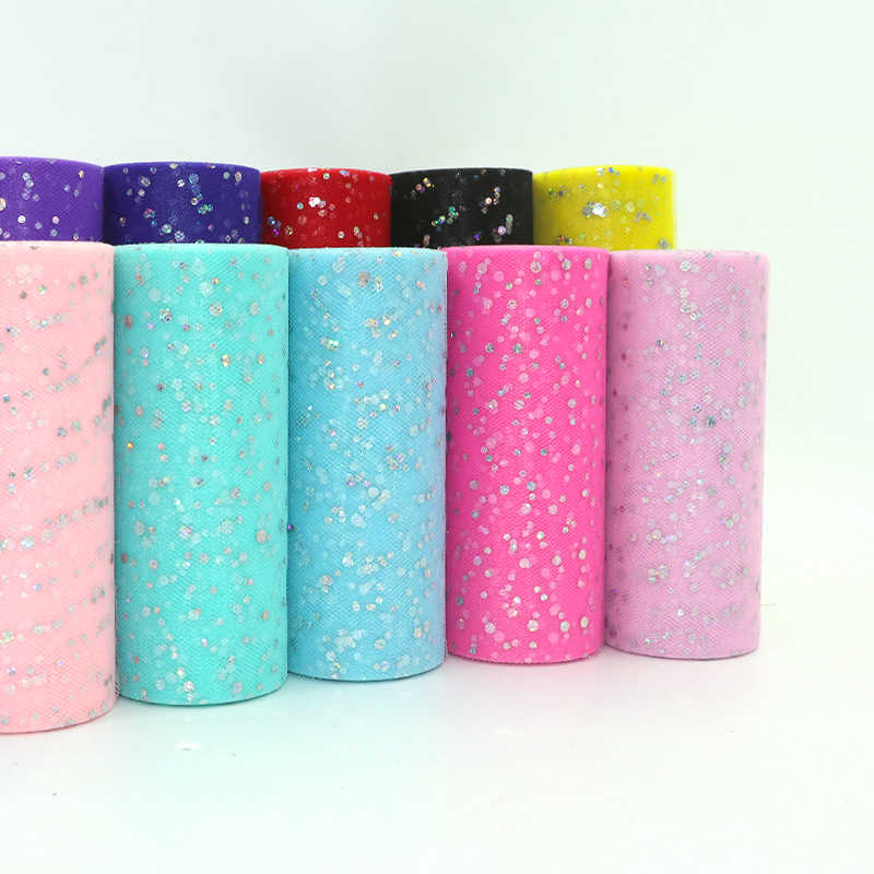 Glitter Sequin Tulle Roll 15cm*22m Tulle Roll Spool Tutu skirt Wedding Decoration Organza Laser DIY Birthday Party Supplies