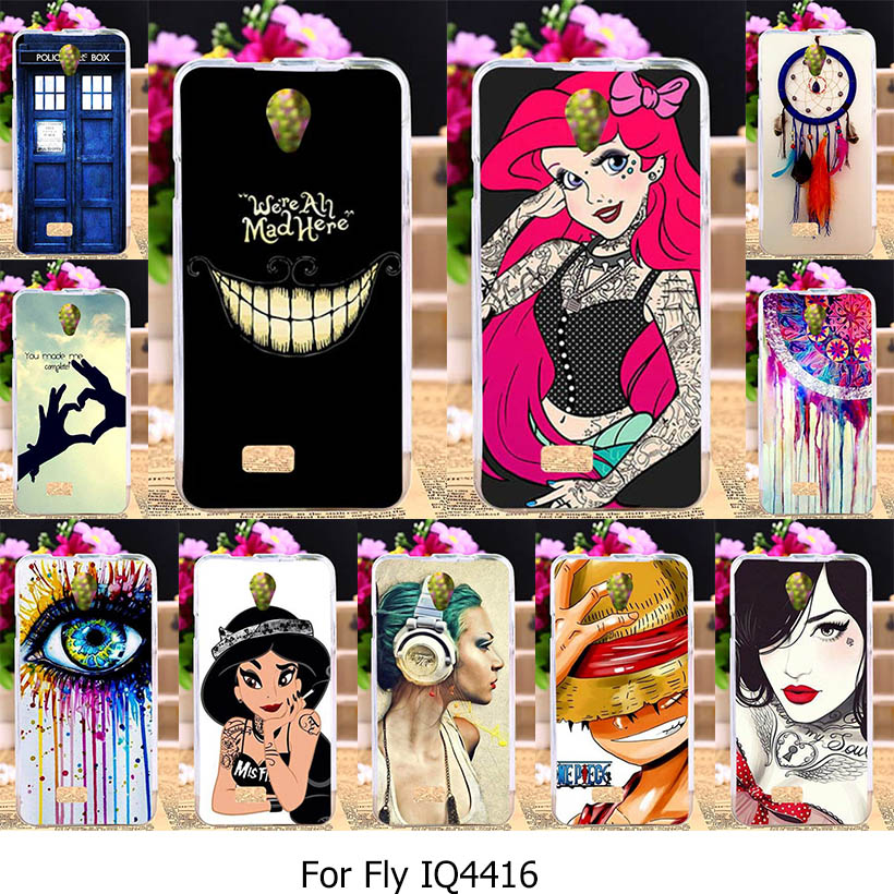 TAOYUNXI Silicone Phone Cover Case for Fly IQ4416 Fly quad Era Life 5 IQ 4416 life5 4.5 inch Case Princess Jasmine Tattooed Girl