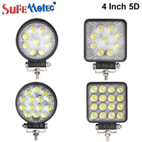4 Inch 27W 42W 48W Round LED Work Light Spotlight Driving For Offorad Trucks Tractor SUV