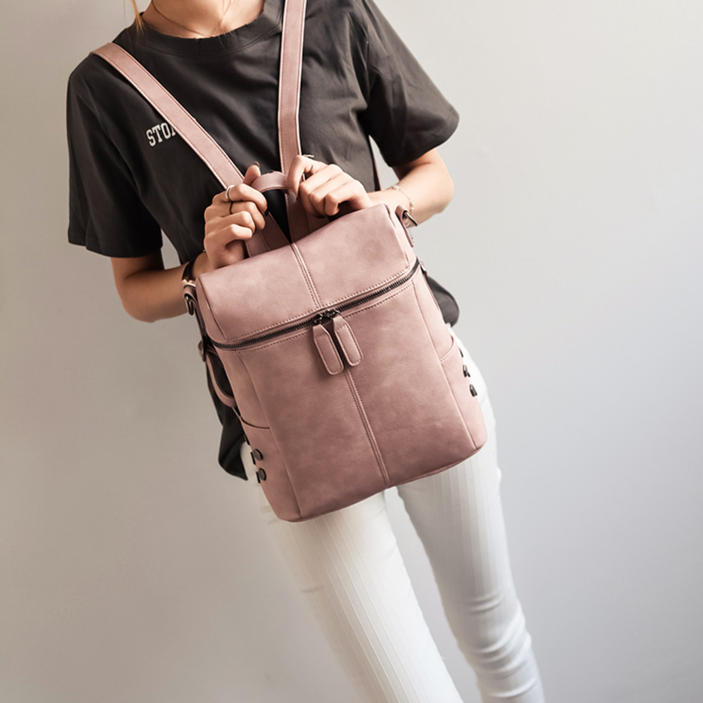 2 Ways Wearing Korean Style Box Shape Women Backpack Solid Color Zipper Pu Leather Backpack Mochila Feminina