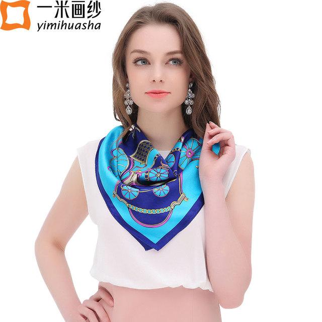 Marca de luxo foulard femme pequeno quadrado de cetim lenço de seda para as mulheres impressão bandana elegante senhora acessórios 11.11 presente
