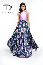 Купить с кэшбэком O-neck Sleeveless Floral Print Satin Evening Women Long Prom Dress Shining Stone Belt Two-pieces Wedding Party Dress
