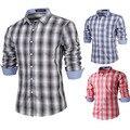 High Quality Basic Cotton Plaid Men Casual Shirts 2015 New Brand Man Slim fit Long sleeve Fashion Social Camisas Masculinas