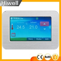 2013New Design Big Display Color Touch Screen Room Thermostat For Underfloor Electric Heating System 16A HT